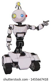 Robot containing elements: oval wide head, giant blue and red led eyes, minibot ornament, light chest exoshielding, chest green blue lights array, tank tracks. Material: White halftone toon.