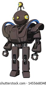 Robot containing elements: oval wide head, yellow eyes, minibot ornament, heavy upper chest, heavy mech chest, battle mech chest, prototype exoplate legs. Material: Light brown.