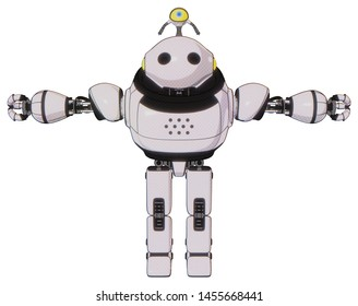 Robot containing elements: oval wide head, minibot ornament, heavy upper chest, prototype exoplate legs. Material: White halftone toon. Situation: T-pose.