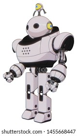 Robot containing elements: oval wide head, minibot ornament, heavy upper chest, prototype exoplate legs. Material: White halftone toon. Situation: Facing right view.