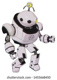 Robot containing elements: oval wide head, minibot ornament, heavy upper chest, prototype exoplate legs. Material: White halftone toon. Situation: Fight or defense pose..