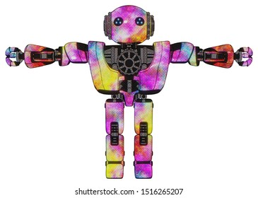 Robot containing elements: oval wide head, blue led eyes, steampunk iron bands with bolts, heavy upper chest, heavy mech chest, prototype exoplate legs. Material: Plasma burst. Situation: T-pose.