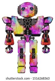 Robot containing elements: oval wide head, blue led eyes, steampunk iron bands with bolts, heavy upper chest, heavy mech chest, prototype exoplate legs. Material: Plasma burst. Situation: Front view.