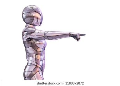 Robot cyborg android pointing or touching pose. Innovative artificial intelligence and virtual reality concept. 3D illustration