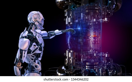 Robot cyborg android touching sensitive sci fi virtual display with futuristic robotics user interface on high tech installation. Innovative science robotic artificial intelligence concept. 3D render