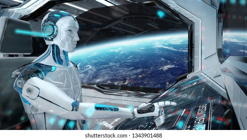 Robot cyborg in a control room flying a white modern spaceship with window view on space 3D rendering