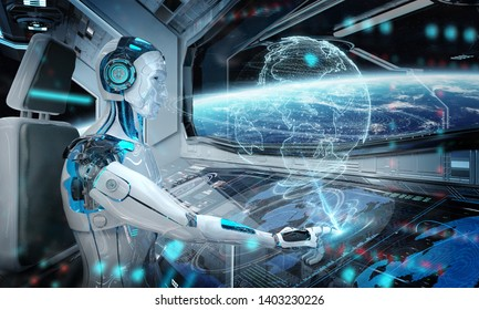 Robot cyborg in a control room flying a white modern spaceship with window view on space and digital Earth hologram 3D rendering