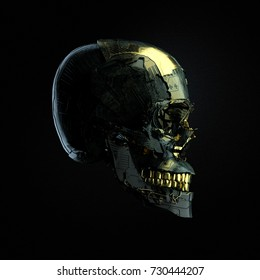 Robot cyborg skull with dark surface and golden glossy elements side view isolated on black background, 3D rendering