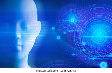 robot data deep learning particle hologram, ai technology, molecule of chemical, atom cell, futuristic cyber network, system of galaxy science background illustration 3d rendering