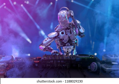 Robot disc jockey at the dj mixer and turntable plays nightclub during party. EDM, entertainment, party concept. 3D illustration