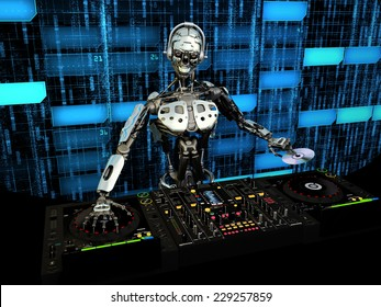Robot DJ - A robot DJ mixing music and holding a CD in front of a futuristic background. Turntables and mixers.