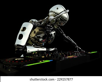 Robot DJ - A robot DJ spinning CDs and mixing. Turntables and mixers.