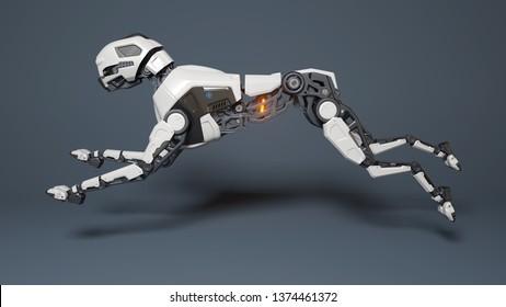 Robot dog runs on a gray background. 3D illustration