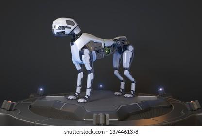 Robot dog stands on a charging dock. 3D illustration