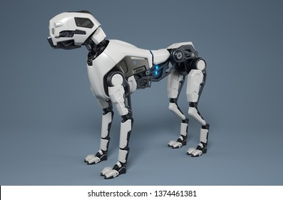 Robot dog stands on a gray background. 3D illustration