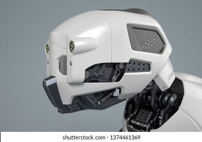 Robot dog's head on a gray background. 3D illustration