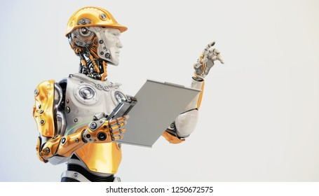 Robot engineer with tablet, 3d illustration