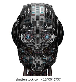 Robot Face or futuristic cyborg head. Front closeup view. Isolated on white background. 3D Render.