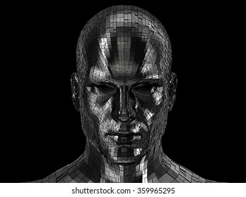 Robot face looking front on camera