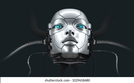 Robot female face closeup portrait, 3d render