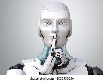 Robot with finger on lips asking for silence. 3D illustration