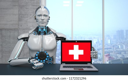 The robot with a first aid notebook. 3d illustration.