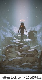robot floating over pile of wreck car covered by snow, digital art style, illustration painting
