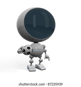 Robot football player posing with ball
