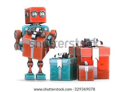 Robot with gift boxes. Isolated over white. Contains clipping path.