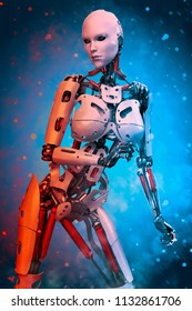 robot girl on a hot and cold cloud 3d illustration