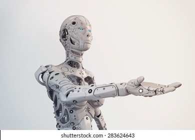 Robot girl with outstretched hand