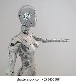 Robot girl points finger