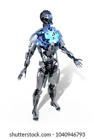 A robot with a glowing blue chest - 3D render.