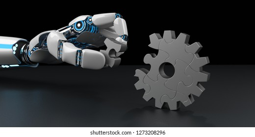 A robot hand assembles a gear wheel from puzzle pieces. 3d illustration.