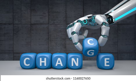 The robot hand with blue cubes and text Change Chance. 3d illustration.