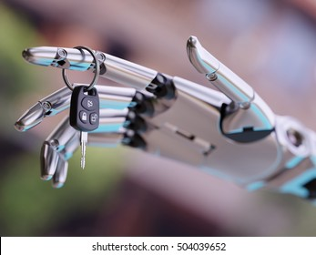 Robot Hand with Car Key in It 3d Illustration