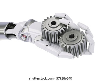 Robot Hand with Gearwheels Automation Concept 3d Illustration Isolated on White Background