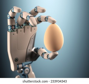 Robot hand holding a chicken egg. Clipping path on egg.