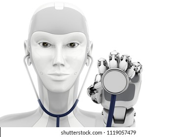 Robot hand holding the stethoscope. Medical technologies. 3d illustration isolatet on a white background.