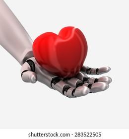 A robot hand holds a heart - 3D render.