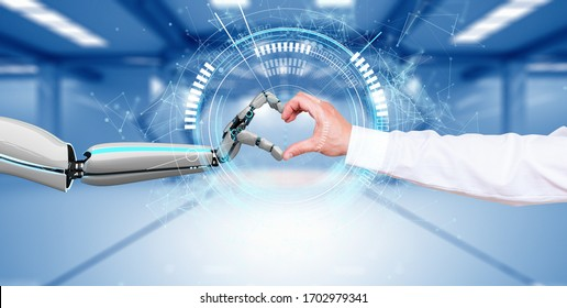 A robot hand and a human hand makes a heart via the HUD display. 3d illustration.