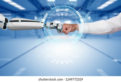 A robot hand and a human hand touch each other via the HUD display. 3d illustration.