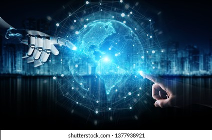 Robot hand and human hand touching digital world on dark background 3D rendering