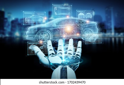 Robot hand on blurred background holding and touching holographic smart car interface projection 3D rendering