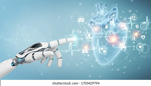 Robot hand on blurred background using digital x-ray of human heart holographic scan projection 3D rendering