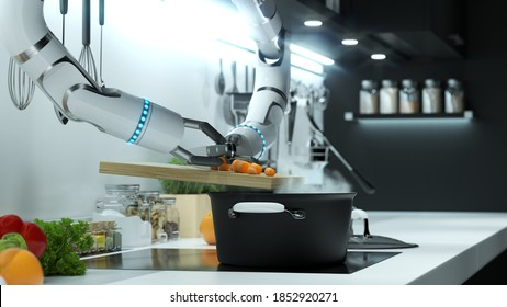 Robot hand prepares soup in a modern kitchen. Dumping the mark into boiling water. 3D illustration.