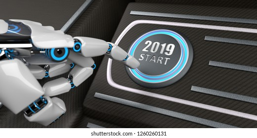 Robot hand pushes the button with the text 2019 Start. 3d illustration.