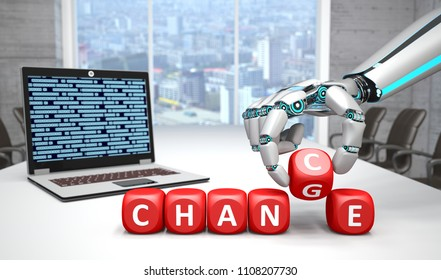 The robot hand with red cubes and text Change Chance on the table with notebook in the conference room. 3d illustration.