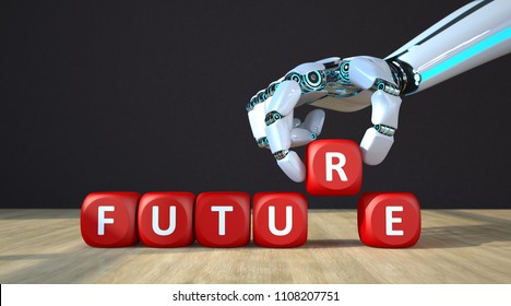 The robot hand with red cubes and text future. 3d illustration.