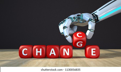 The robot hand with red cubes and text Change Chance. 3d illustration.